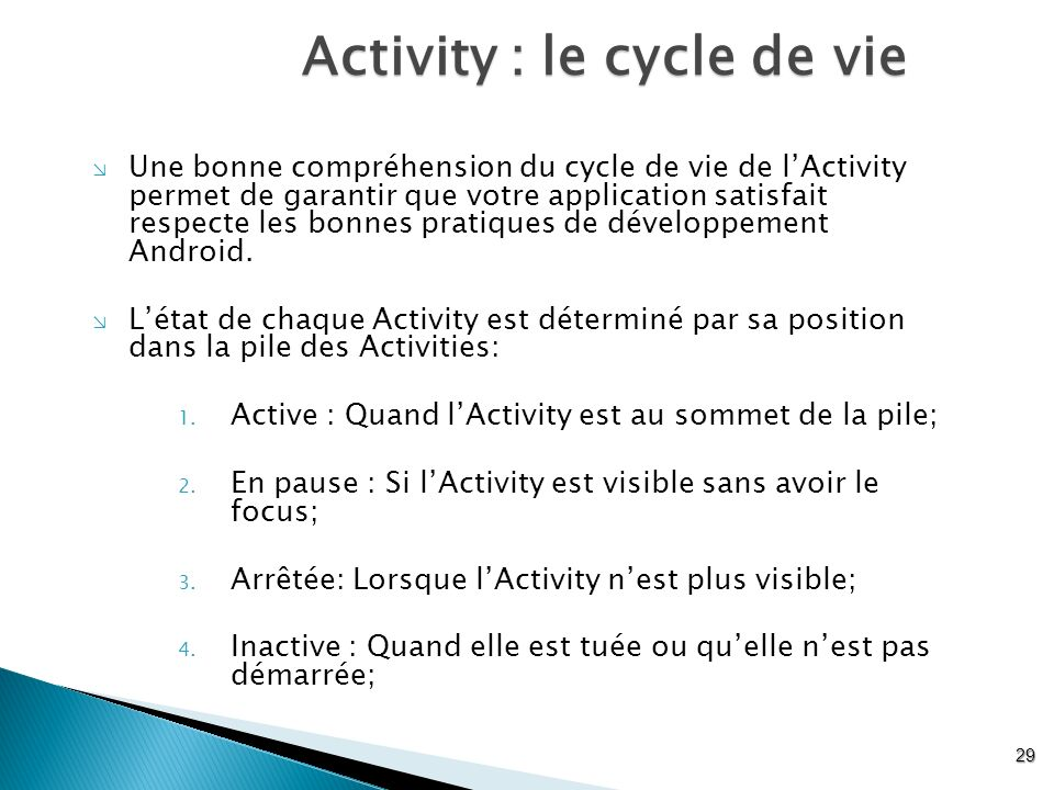 Activity : le cycle de vie