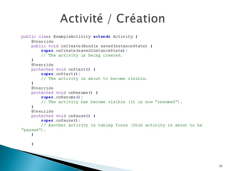 Activité / Création Reference : http://developer.android.com/reference/android/app/Activity.html