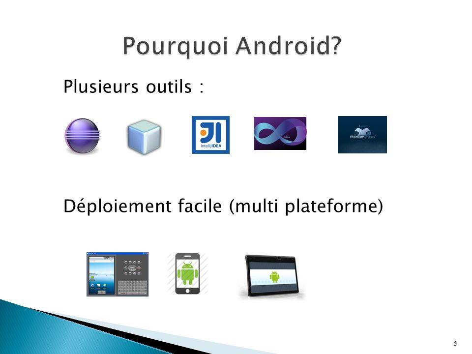 Pourquoi Android Plusieurs outils : Déploiement facile (multi plateforme)