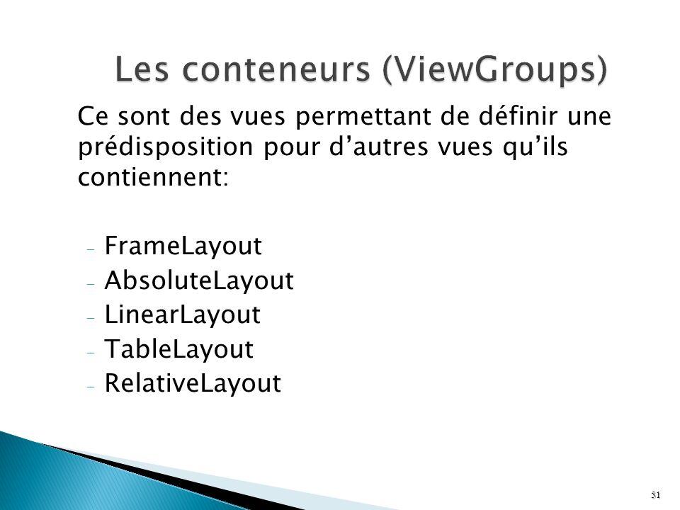 Les conteneurs (ViewGroups)
