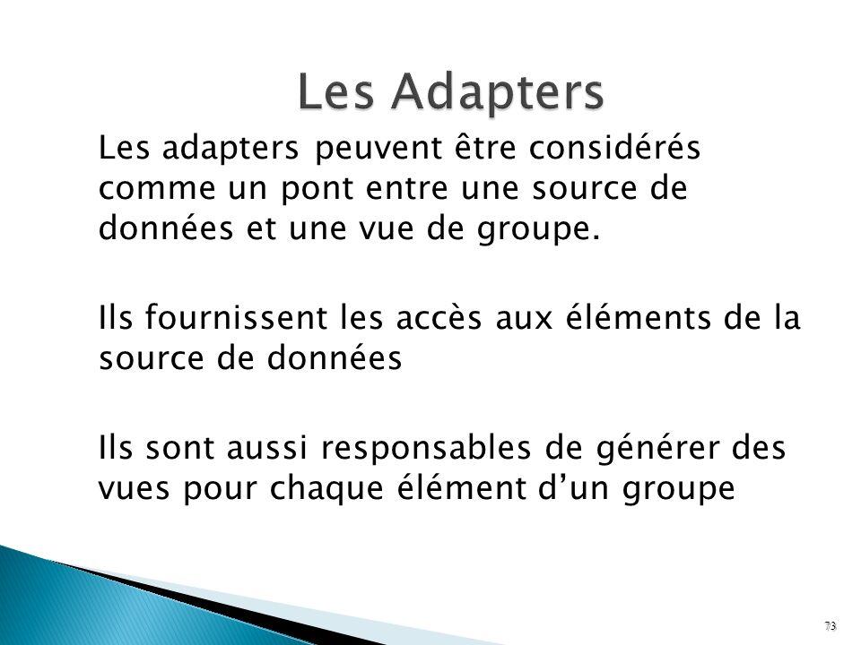 Les Adapters Les adapters peuvent être considérés comme un pont entre une source de données et une vue de groupe.