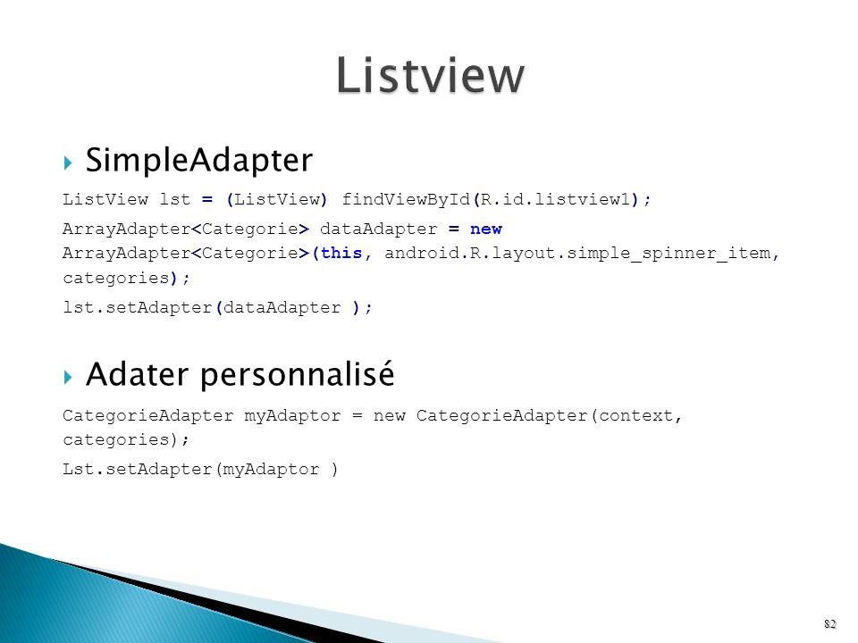 Listview SimpleAdapter Adater personnalisé