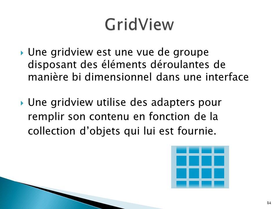 GridView Une gridview est une vue de groupe disposant des éléments déroulantes de manière bi dimensionnel dans une interface.