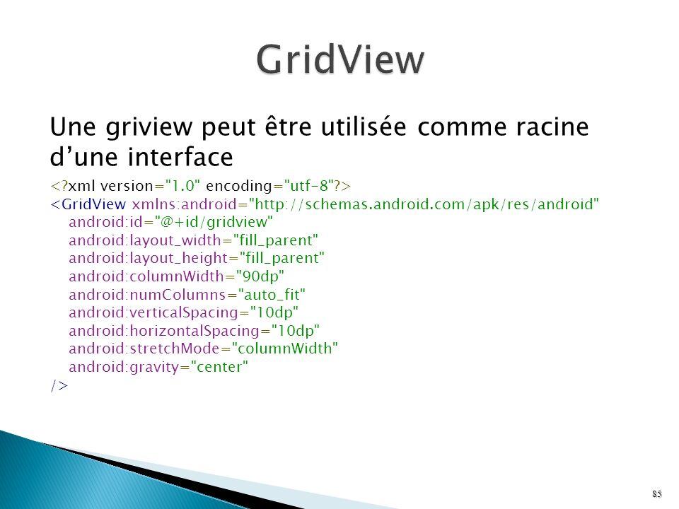 GridView Une griview peut être utilisée comme racine d'une interface