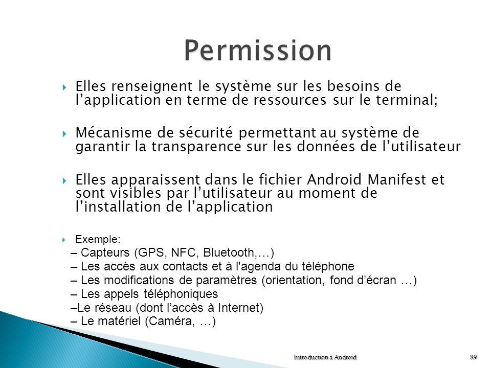 Permission Elles renseignent le système sur les besoins de l'application en terme de ressources sur le terminal;