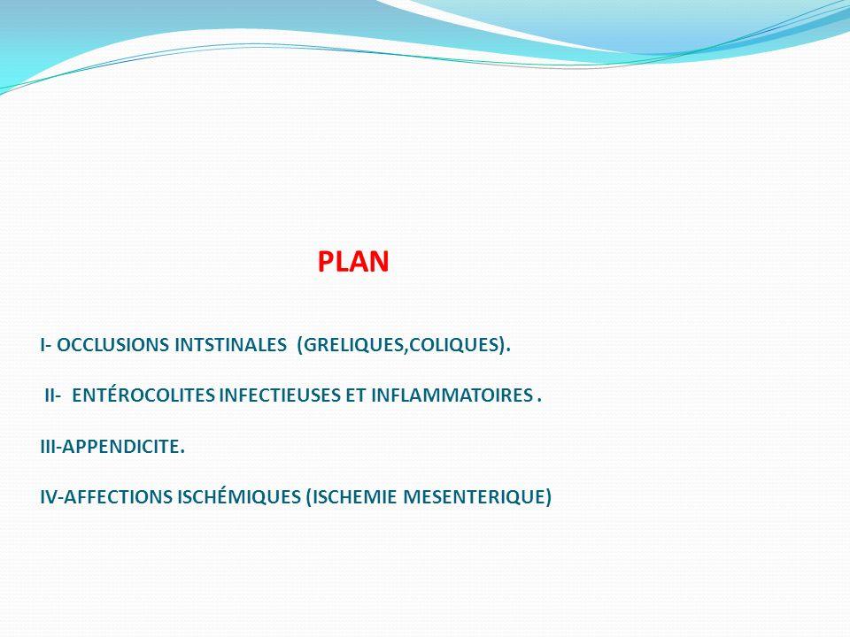PLAN I- OCCLUSIONS INTSTINALES (GRELIQUES,COLIQUES)