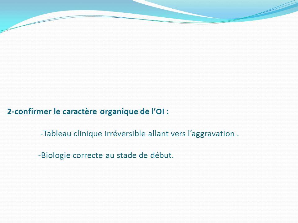 2-confirmer le caractère organique de l'OI : -Tableau clinique irréversible allant vers l'aggravation .