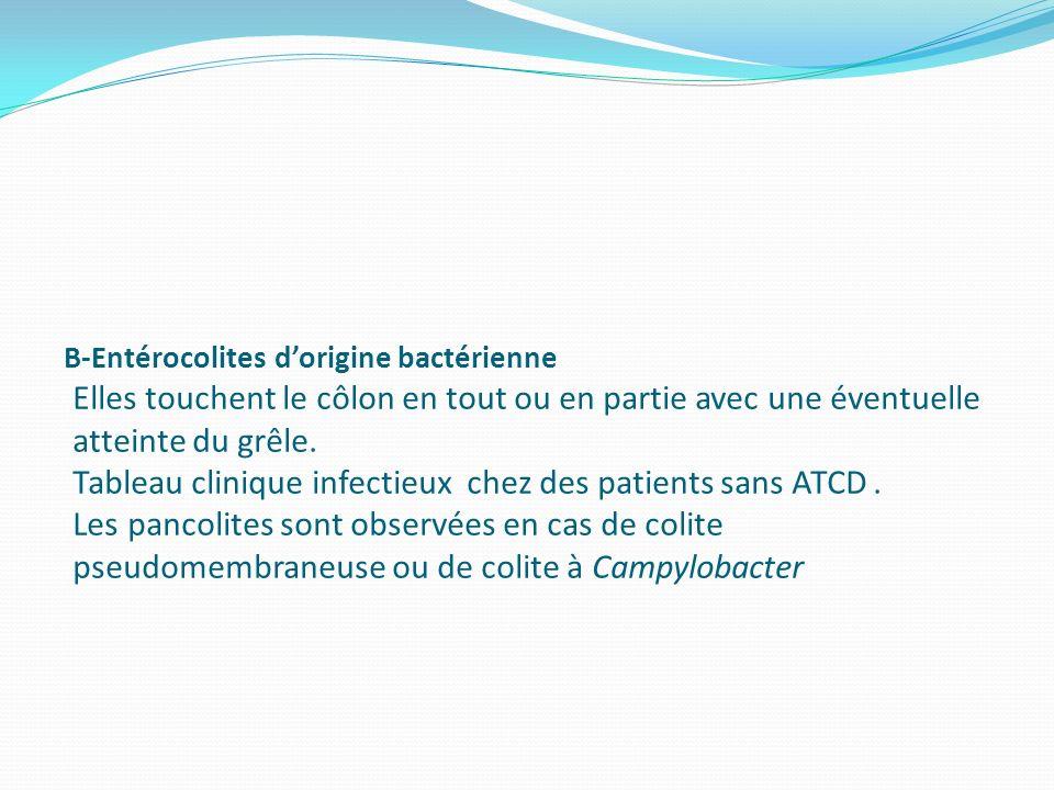 B-Entérocolites d'origine bactérienne Elles touchent le côlon en tout ou en partie avec une éventuelle atteinte du grêle.