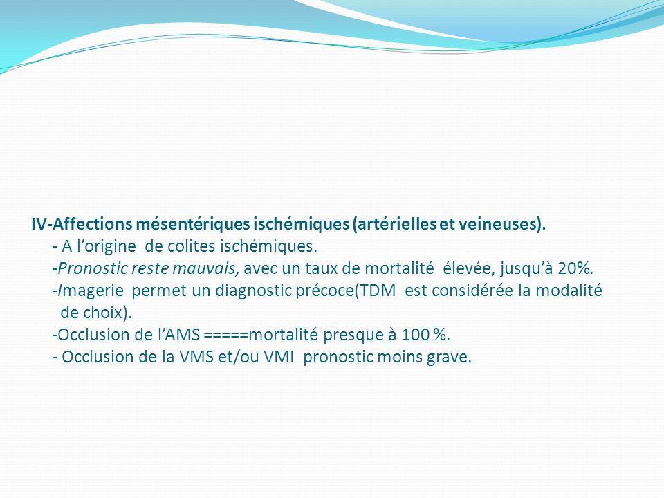 IV-Affections mésentériques ischémiques (artérielles et veineuses)