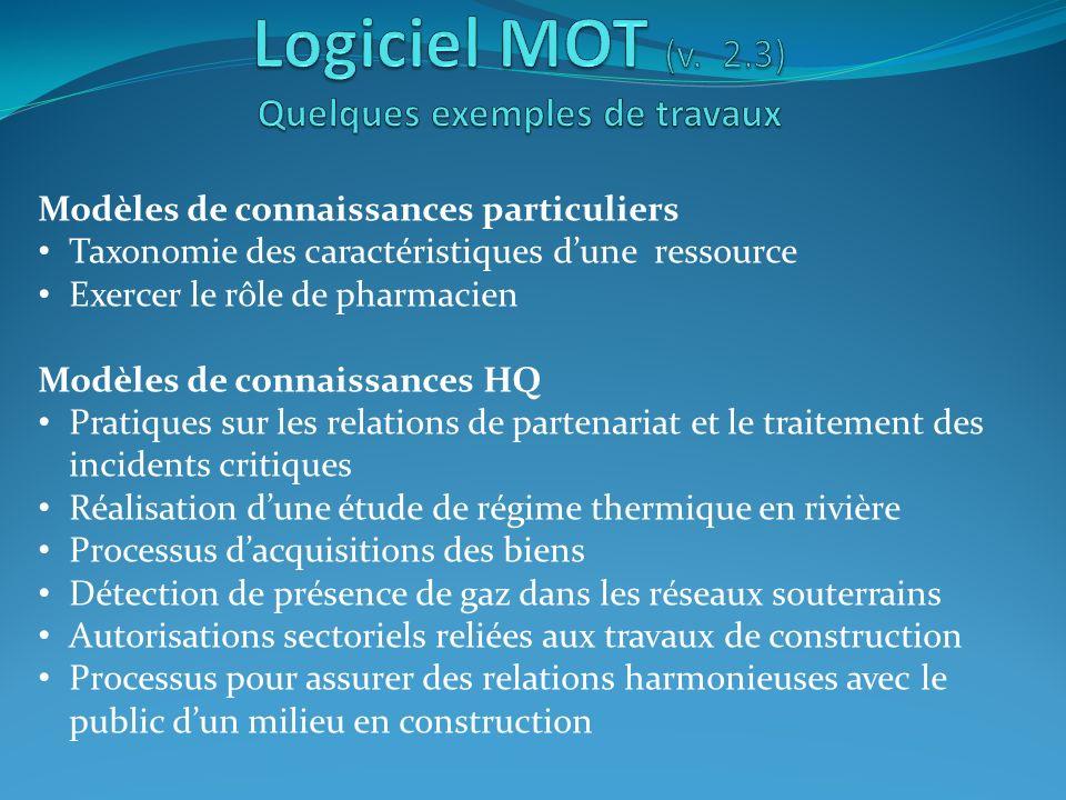 Logiciel MOT (v. 2.3) Quelques exemples de travaux