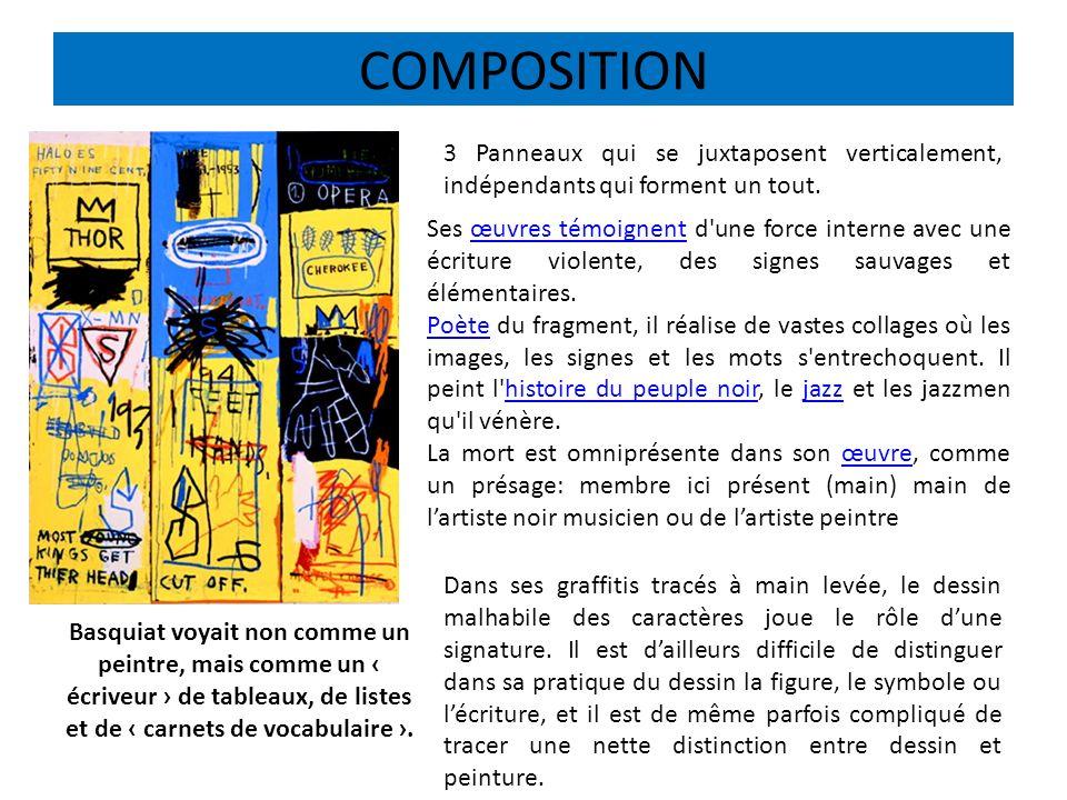 COMPOSITION 3 Panneaux qui se juxtaposent verticalement, indépendants qui forment un tout.