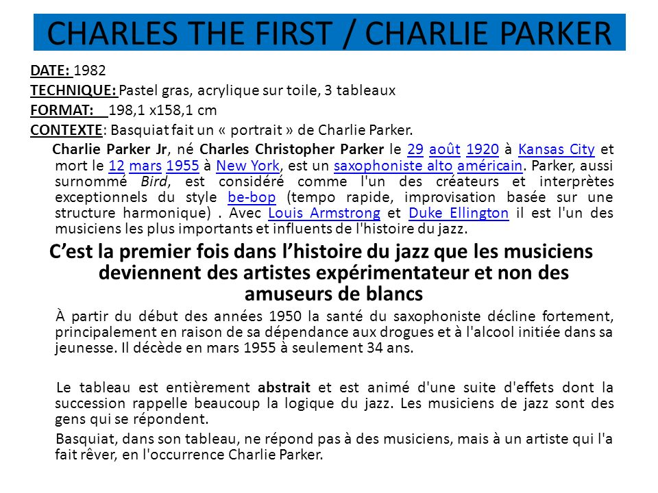 CHARLES THE FIRST / CHARLIE PARKER