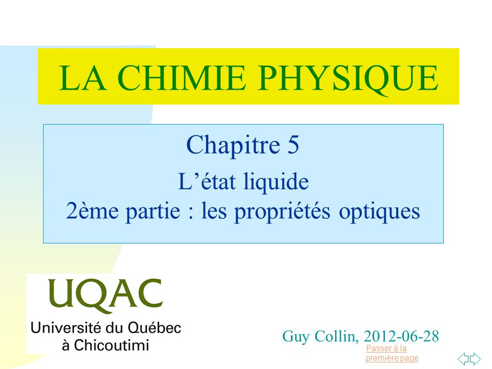 Chapitre 5 L'état liquide 2ème partie : les propriétés optiques
