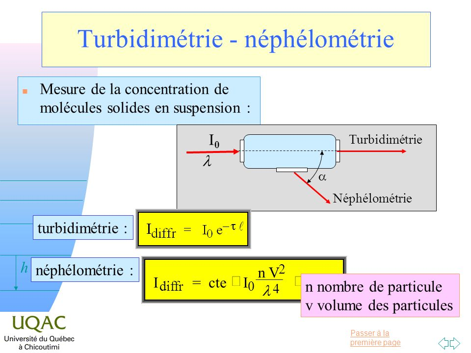 Turbidimétrie - néphélométrie