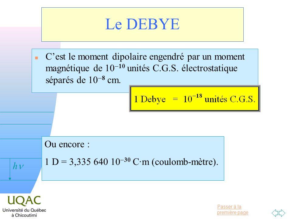 Le DEBYE C'est le moment dipolaire engendré par un moment magnétique de 10-10 unités C.G.S. électrostatique séparés de 10-8 cm.