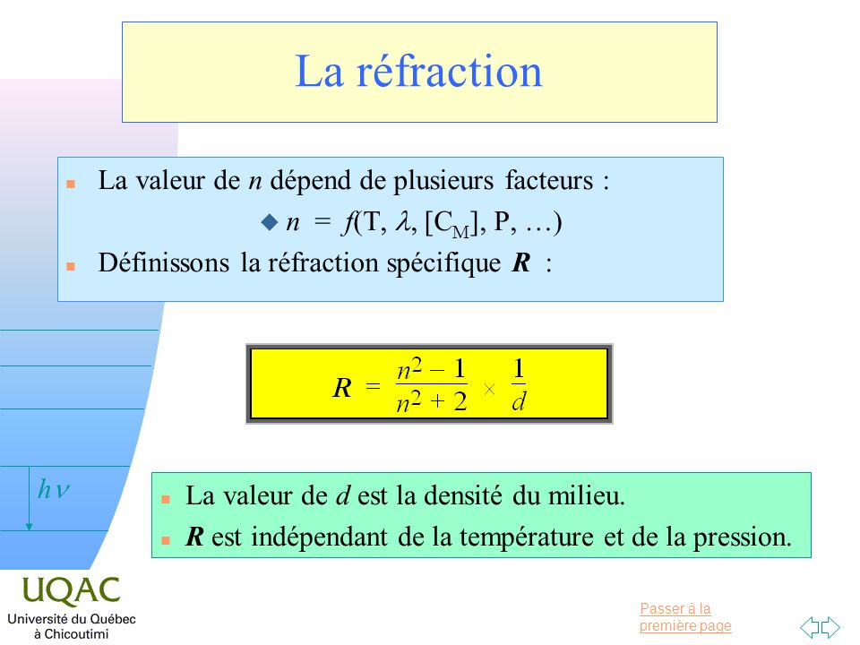 La réfraction La valeur de n dépend de plusieurs facteurs :