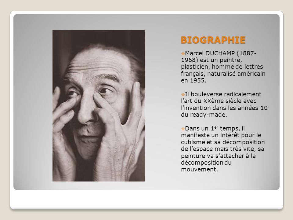 BIOGRAPHIE Marcel DUCHAMP (1887-1968) est un peintre, plasticien, homme de lettres français, naturalisé américain en 1955.