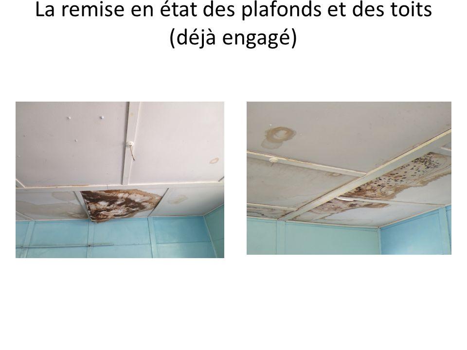 La remise en état des plafonds et des toits (déjà engagé)