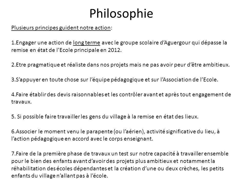 Philosophie Plusieurs principes guident notre action:
