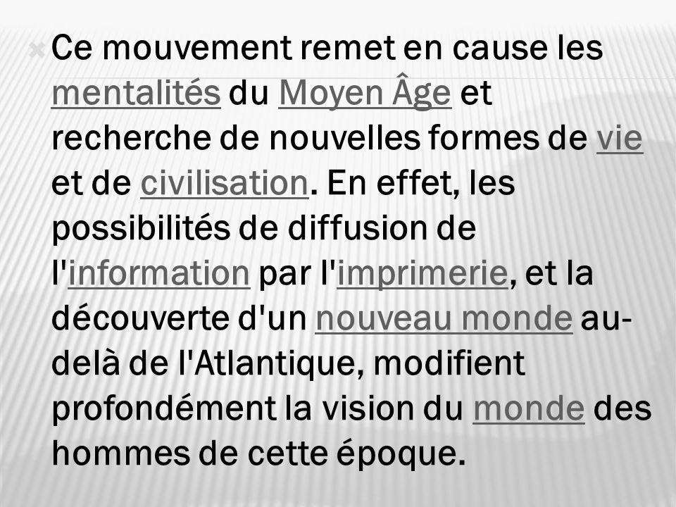 Ce mouvement remet en cause les mentalités du Moyen Âge et recherche de nouvelles formes de vie et de civilisation.