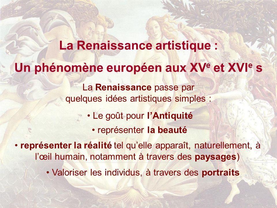 La Renaissance artistique : Un phénomène européen aux XVe et XVIe s