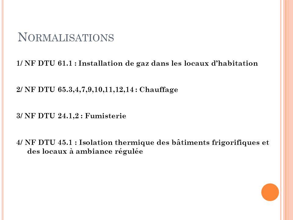 Normalisations 1/ NF DTU 61.1 : Installation de gaz dans les locaux d'habitation. 2/ NF DTU 65.3,4,7,9,10,11,12,14 : Chauffage.