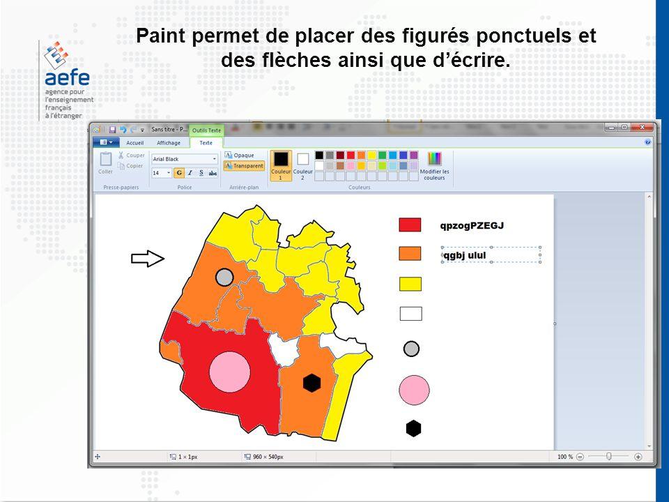Paint permet de placer des figurés ponctuels et des flèches ainsi que d'écrire.
