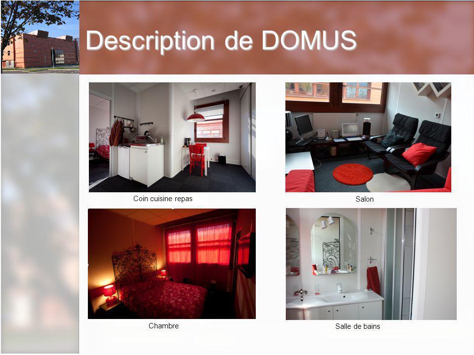 Description de DOMUS Coin cuisine repas Salon Chambre Salle de bains