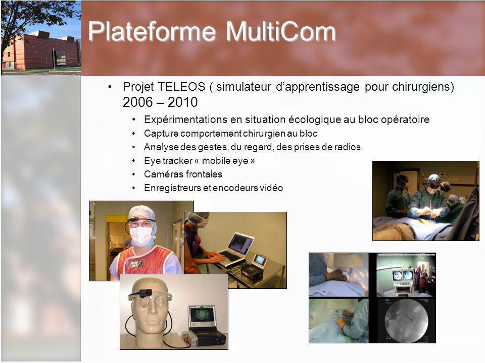 Plateforme MultiCom Projet TELEOS ( simulateur d'apprentissage pour chirurgiens) 2006 – 2010.