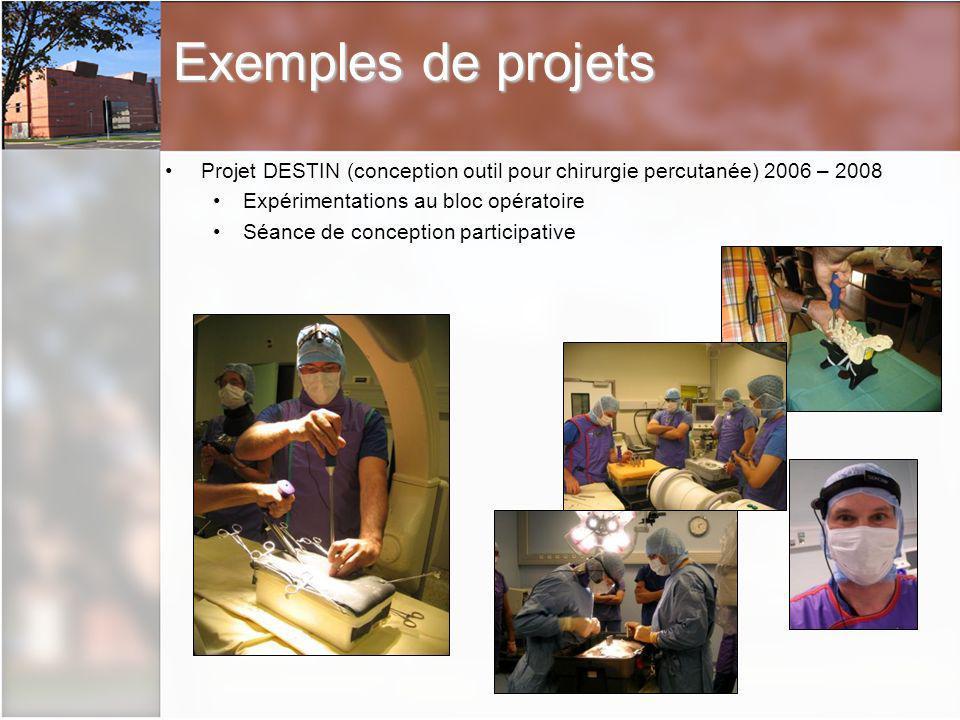 Exemples de projets Projet DESTIN (conception outil pour chirurgie percutanée) 2006 – 2008. Expérimentations au bloc opératoire.