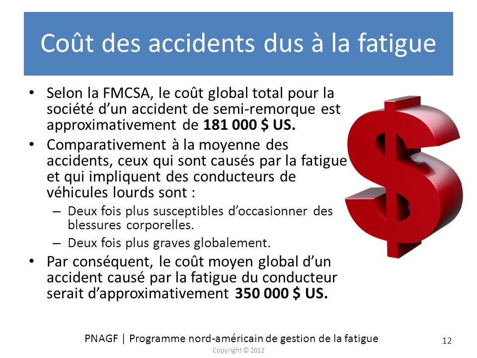 Coût des accidents dus à la fatigue
