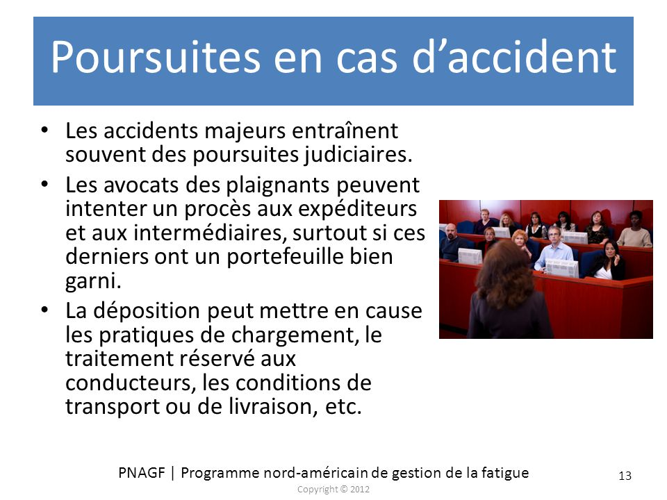 Poursuites en cas d'accident