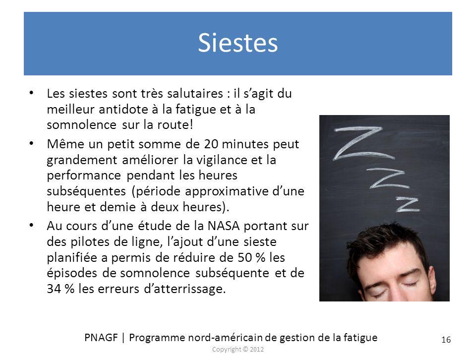 Siestes Les siestes sont très salutaires : il s'agit du meilleur antidote à la fatigue et à la somnolence sur la route!