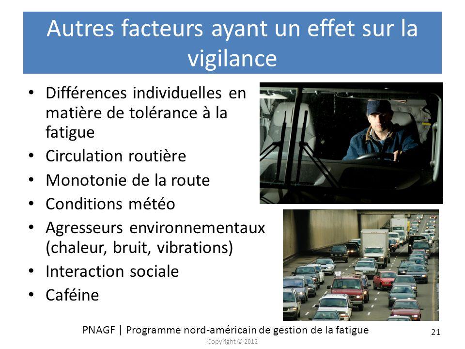 Autres facteurs ayant un effet sur la vigilance