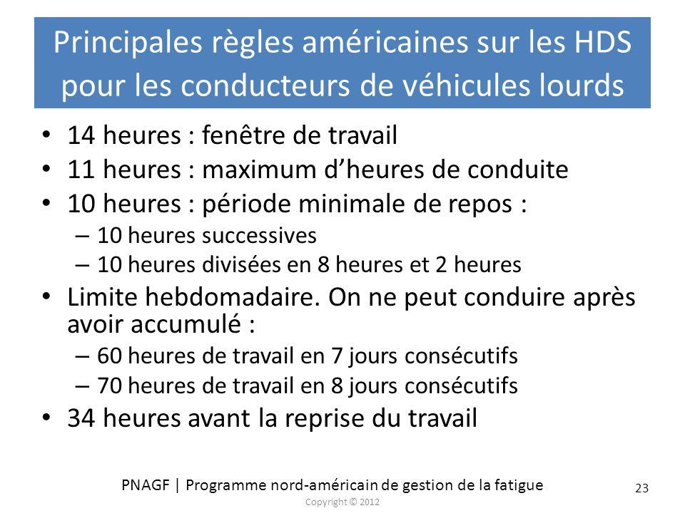 Principales règles américaines sur les HDS pour les conducteurs de véhicules lourds