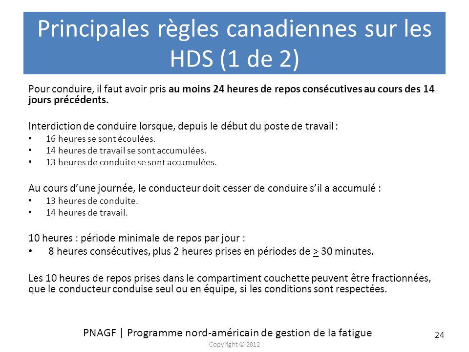Principales règles canadiennes sur les HDS (1 de 2)