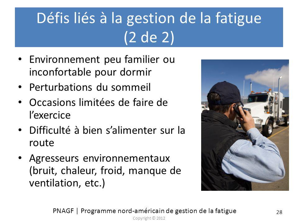 Défis liés à la gestion de la fatigue (2 de 2)