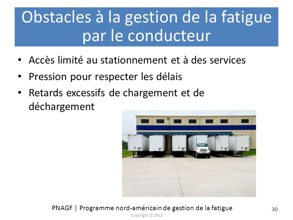 Obstacles à la gestion de la fatigue par le conducteur