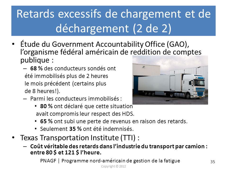 Retards excessifs de chargement et de déchargement (2 de 2)