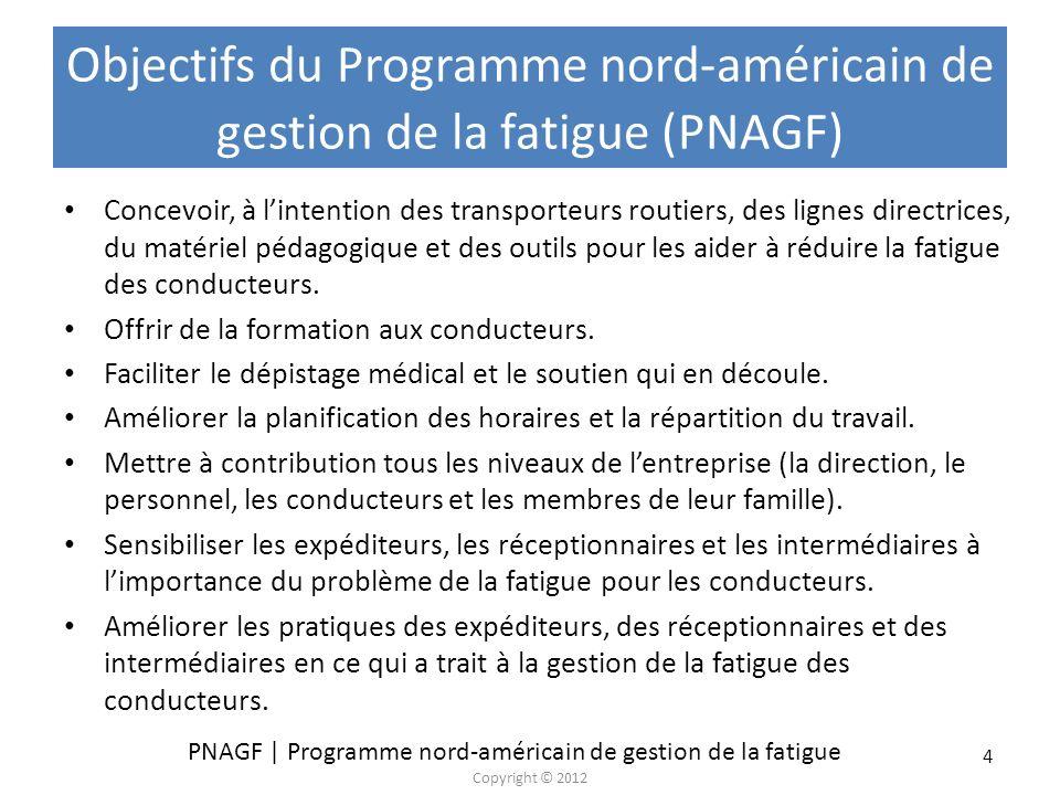 Objectifs du Programme nord-américain de gestion de la fatigue (PNAGF)