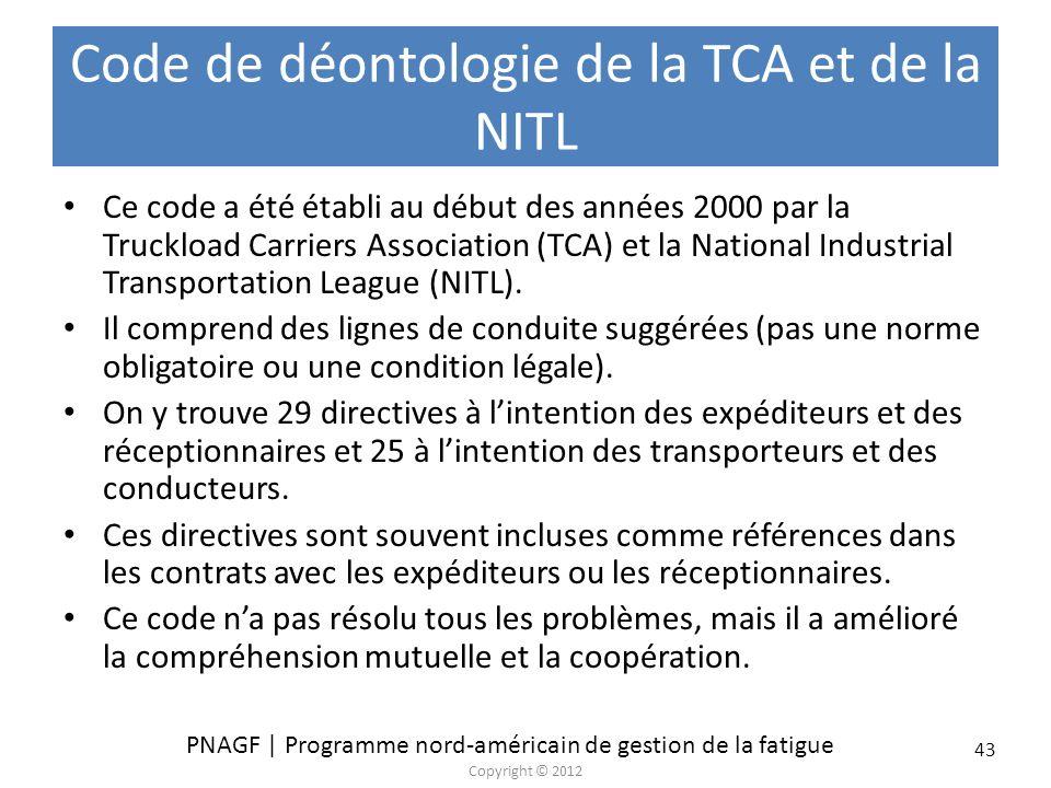 Code de déontologie de la TCA et de la NITL