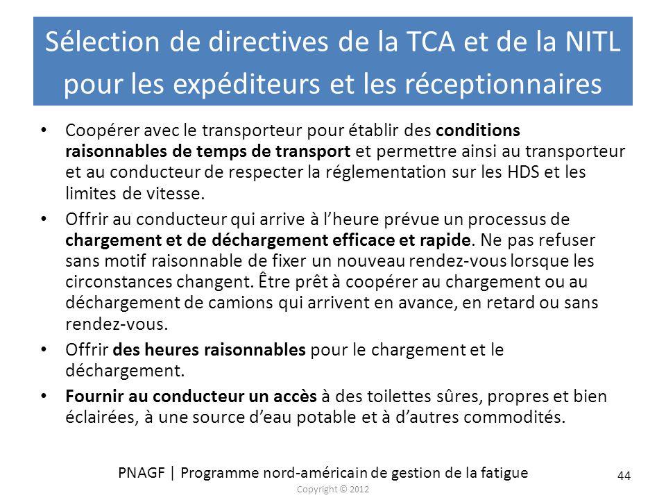 Sélection de directives de la TCA et de la NITL pour les expéditeurs et les réceptionnaires