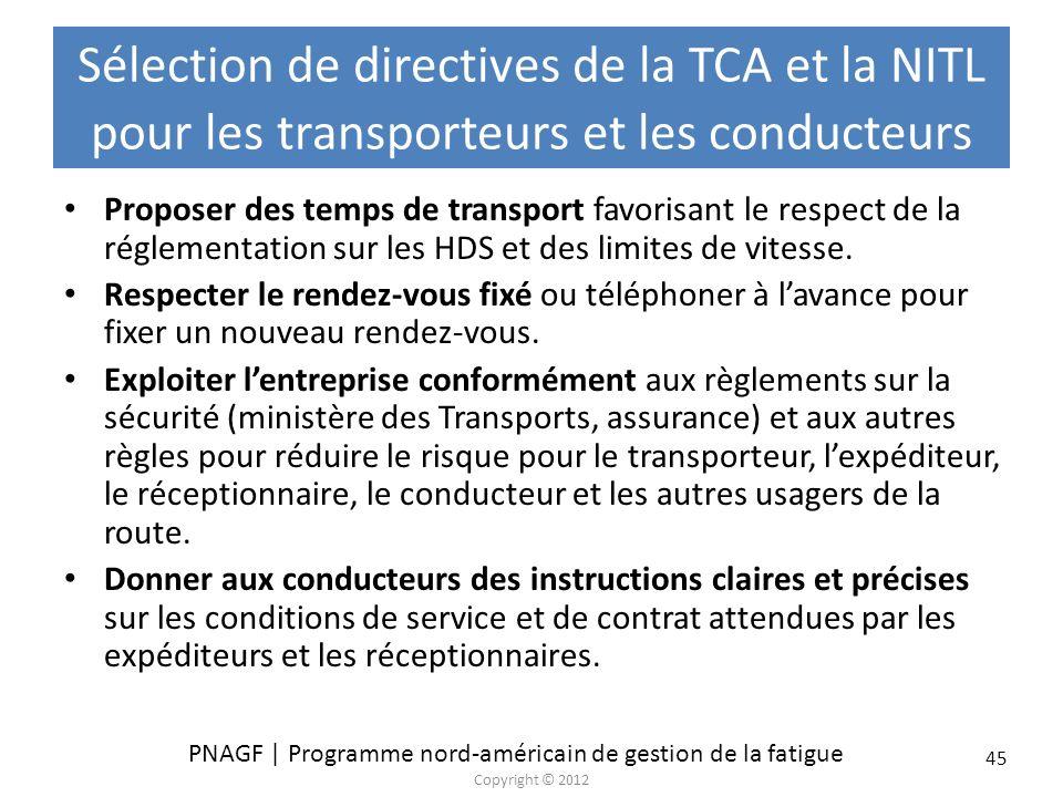 Sélection de directives de la TCA et la NITL pour les transporteurs et les conducteurs