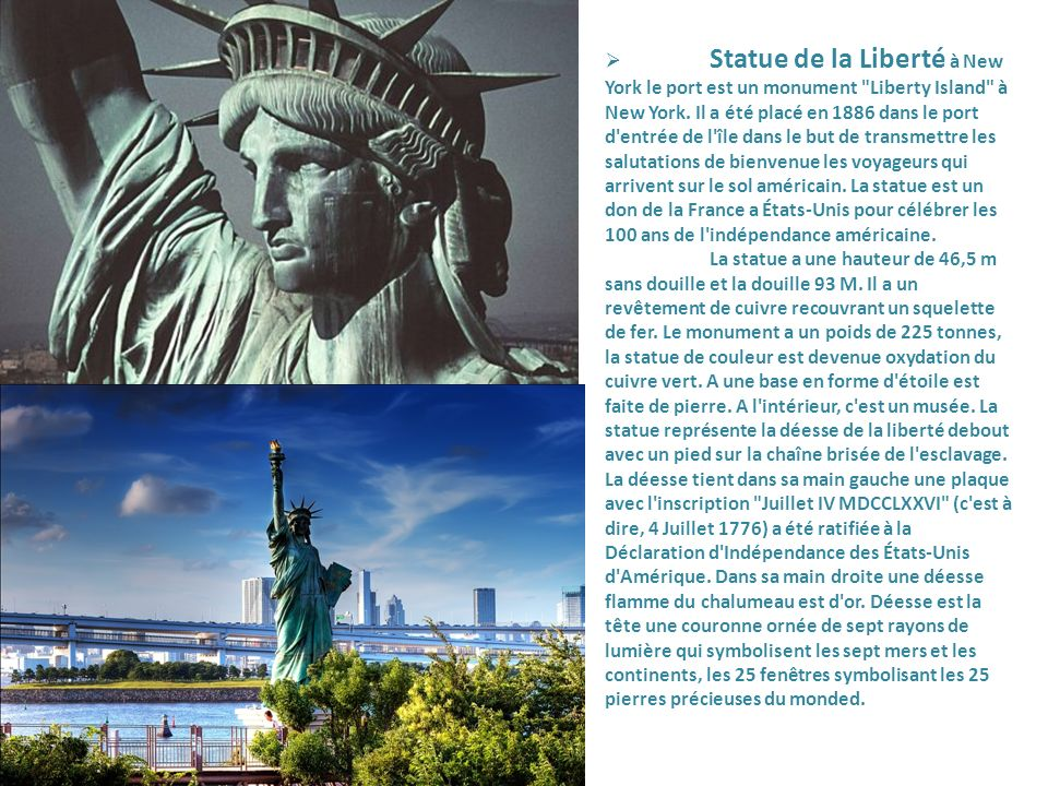 Statue de la Liberté à New York le port est un monument Liberty Island à New York.
