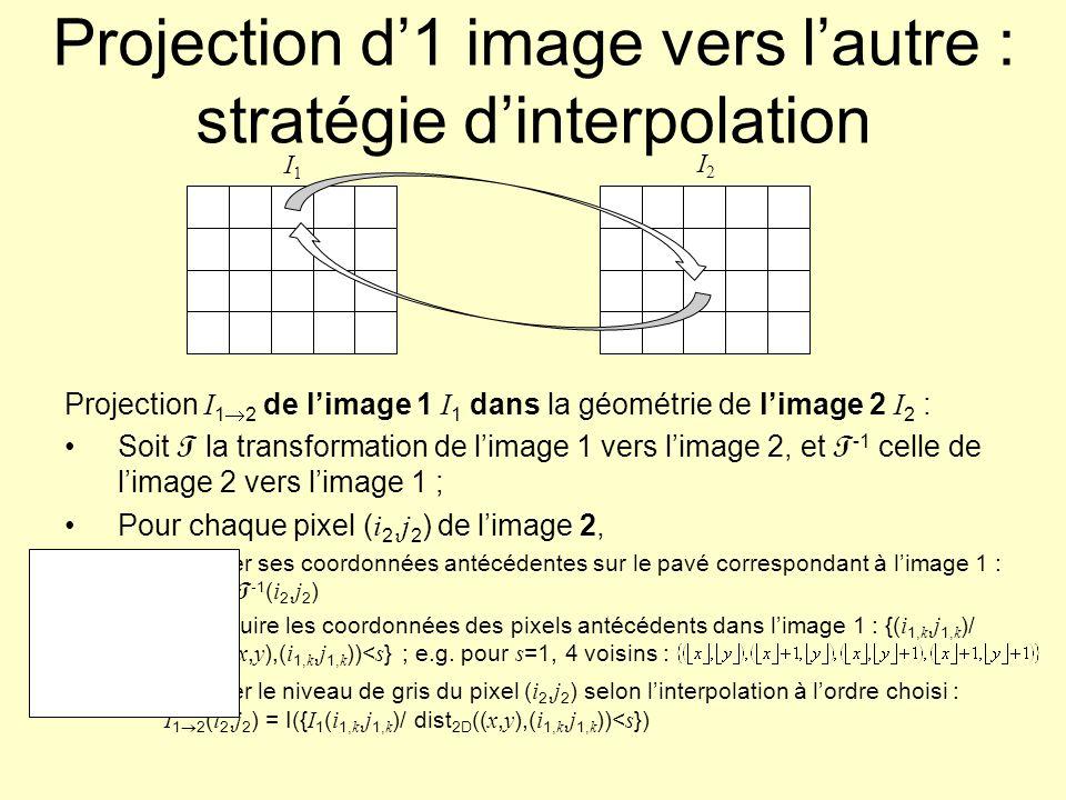 Projection d'1 image vers l'autre : stratégie d'interpolation
