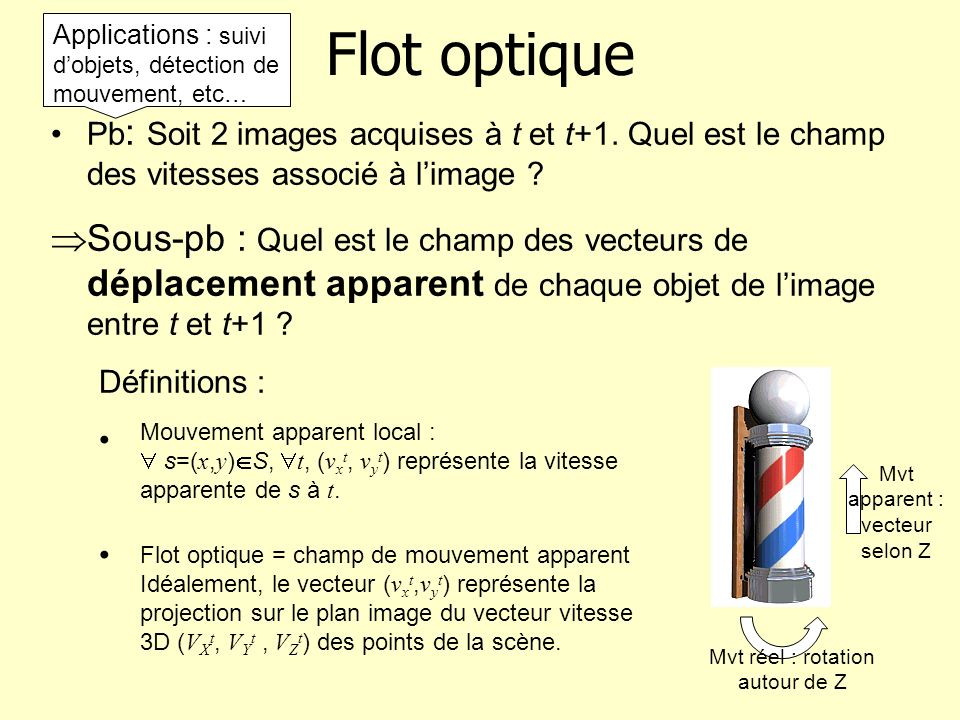 Flot optique Applications : suivi d'objets, détection de mouvement, etc…