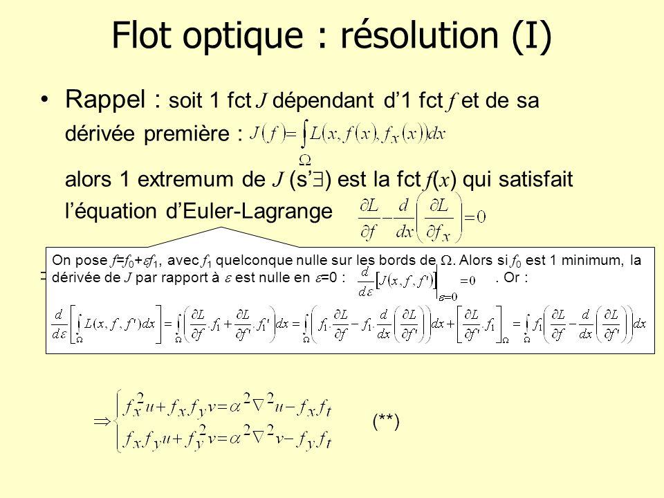 Flot optique : résolution (I)