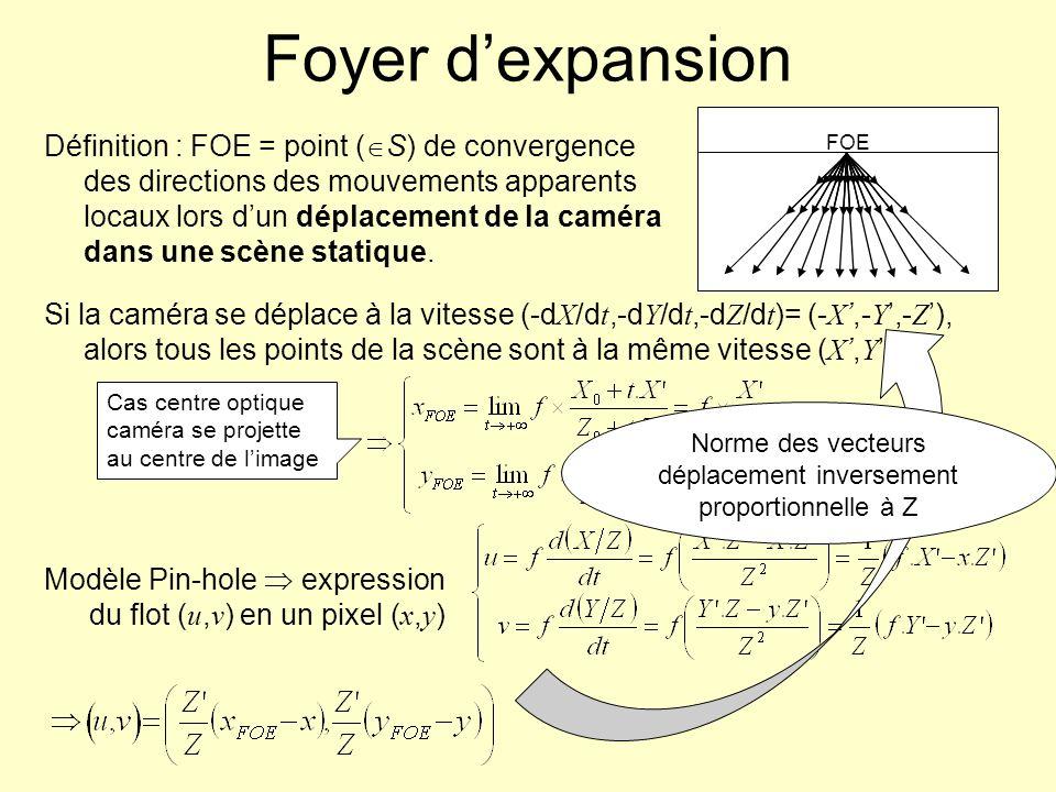 Norme des vecteurs déplacement inversement proportionnelle à Z