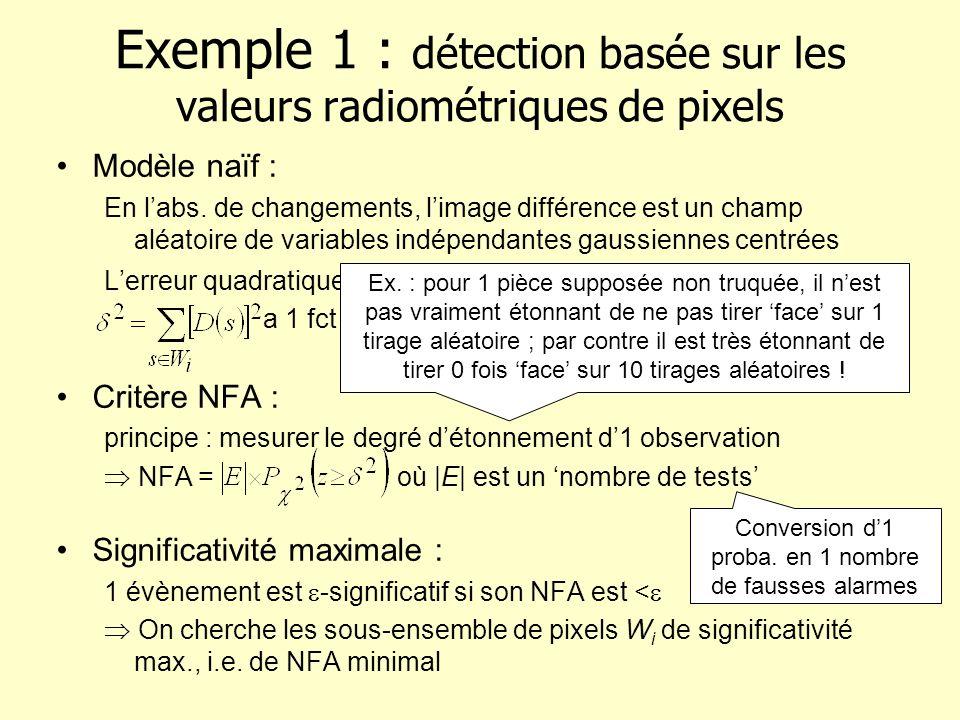 Exemple 1 : détection basée sur les valeurs radiométriques de pixels