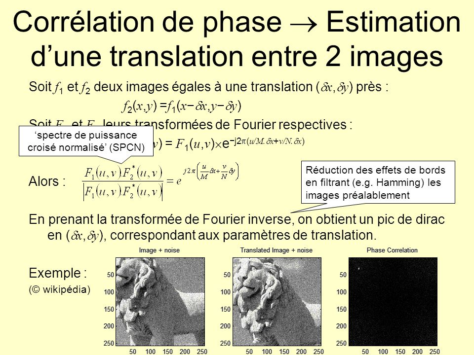 Corrélation de phase  Estimation d'une translation entre 2 images